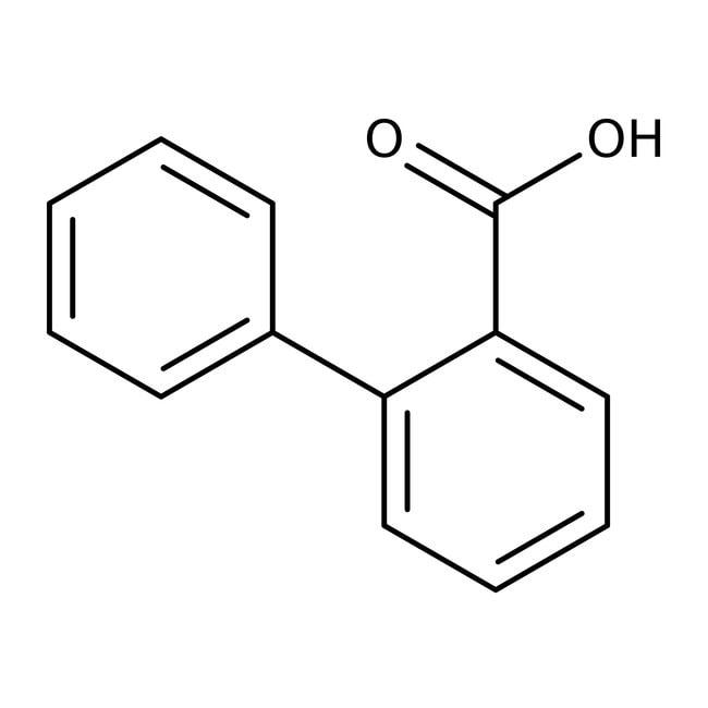 Acide 2-biphénylcarboxylique, 98%, Acros Organics 100g, flacon de verre Acide 2-biphénylcarboxylique, 98%, Acros Organics