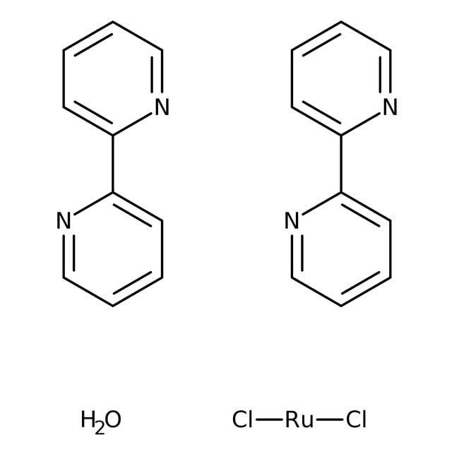 cis-Bis(2,2'-bipyridine)dichlororuthenium(II) hydrate, 97%, ACROS Organics™ 5g; Glass bottle cis-Bis(2,2'-bipyridine)dichlororuthenium(II) hydrate, 97%, ACROS Organics™