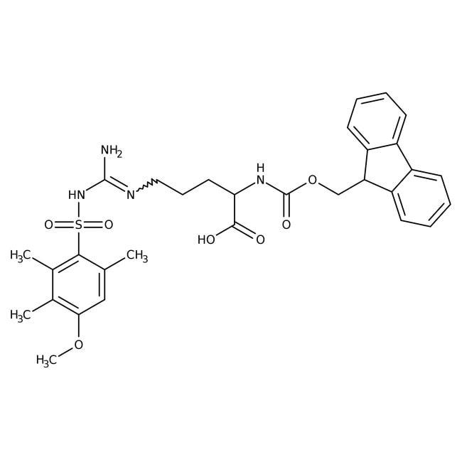 Alfa Aesar™Nalpha-Fmoc-Nomega-(4-methoxy-2,3,6-trimethylphenylsulfonyl)-L-arginine, 95% 25g Alfa Aesar™Nalpha-Fmoc-Nomega-(4-methoxy-2,3,6-trimethylphenylsulfonyl)-L-arginine, 95%