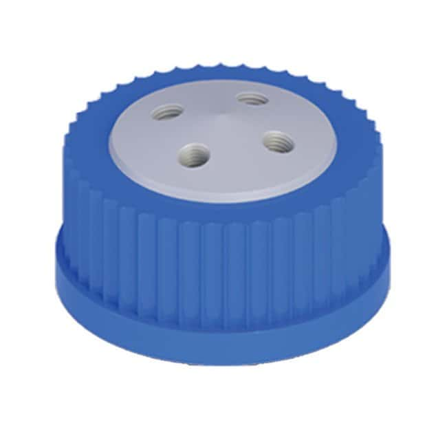 Cole-Parmer™VapLock™ Lösungsmittelverschlüsse vier 1/4Zoll-28Anschlüsse, GL45; 1Stück Cole-Parmer™VapLock™ Lösungsmittelverschlüsse