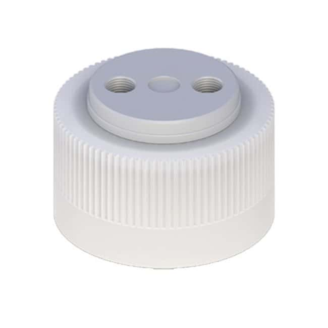 Cole-Parmer™VapLock™ Solvent Delivery Caps with Inlet Valve and Filter FFKM Air Inlet Valve, two 1/4 in-28 ports, 38-430; 1/ea Cole-Parmer™VapLock™ Solvent Delivery Caps with Inlet Valve and Filter