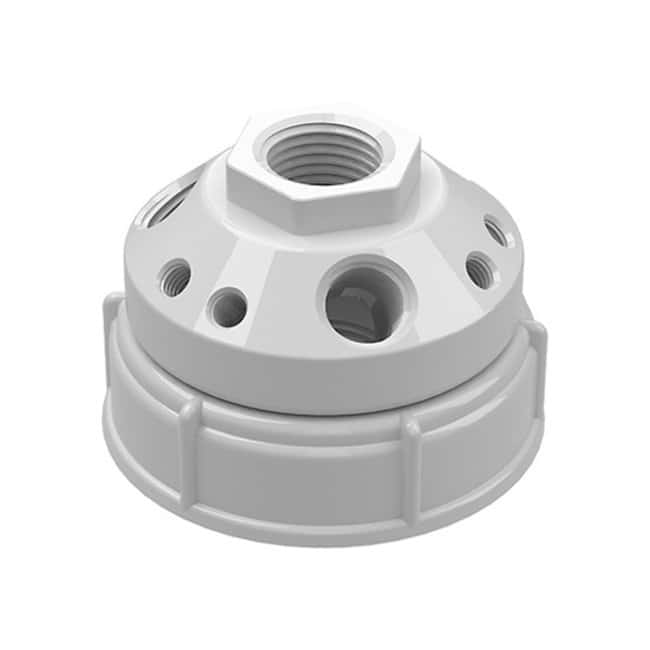 Cole-Parmer™VapLock™ Solvent Waste Manifold Caps for Bottles and Carboys PTFE, 63mm, 1x1/2 inNPTF, 3x1/4 inNPTF, 6x1/4 in-28 UNFF; 1/ea Cole-Parmer™VapLock™ Solvent Waste Manifold Caps for Bottles and Carboys