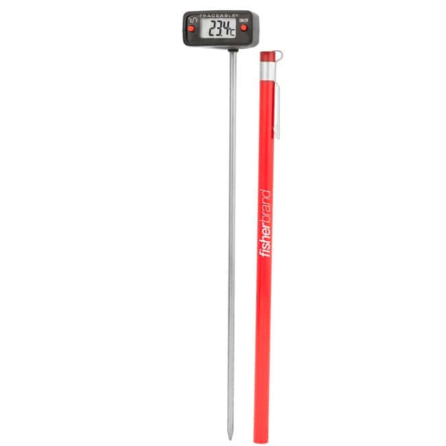 Fisherbrand™Traceable™ Digital Thermometers with Stainless-Steel Stem, 0.25 in. LCD Screen, and Protective Guard