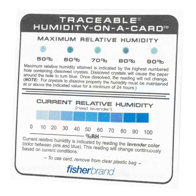 Fisherbrand™ Traceable™ Humidity-On-A-Card™ Humidity Monitor Traceable Rh-on-a Card Hygrometer Accessories