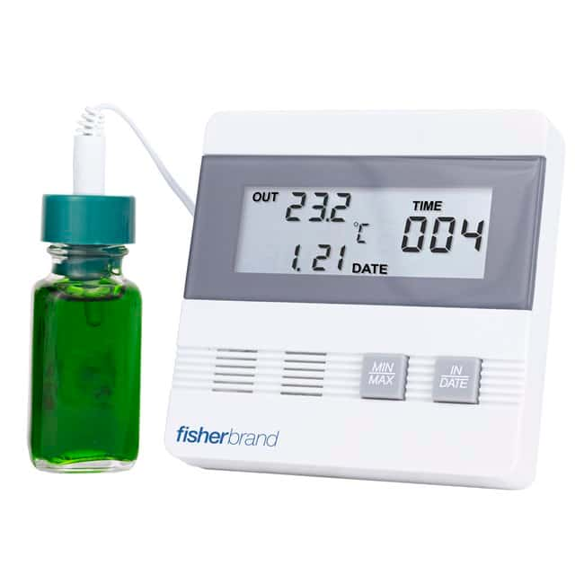 Fisherbrand™ Traceable™ Thermometer with Time/Date, Max/Min Memory Thermometer with bottle probe; Probe dia. x L: 1 x 2.5 in. Fisherbrand™ Traceable™ Thermometer with Time/Date, Max/Min Memory