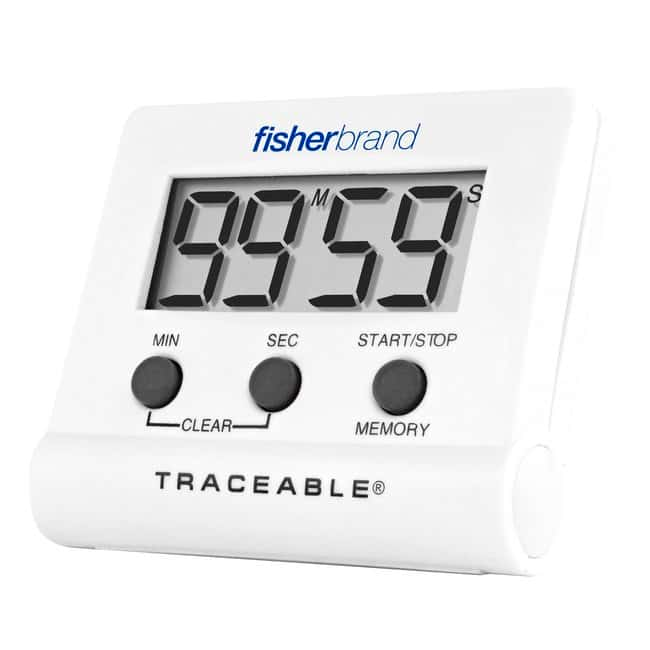 Fisherbrand™ Traceable™ Instant-Recall Memory Timer Timer range: 100 minutes; Alarms: 30 seconds; Display: 0.62 in. H Stopwatches