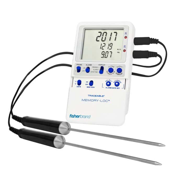 Fisherbrand™ Traceable™ Memory-Loc™ Datalogging Thermometers 2 Stainless-Steel Probes Fisherbrand™ Traceable™ Memory-Loc™ Datalogging Thermometers
