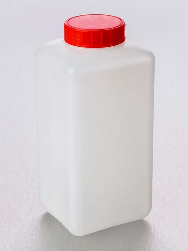 Gosselin™Square HDPE Graduated 2 L Bottles Red LDPE screw cap with single closure; Sterile Gosselin™Square HDPE Graduated 2 L Bottles