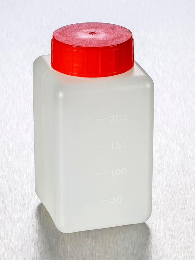 Gosselin™Square HDPE Graduated 250 mL Bottles Red HDPE screw cap with double closure; Non-sterile Gosselin™Square HDPE Graduated 250 mL Bottles