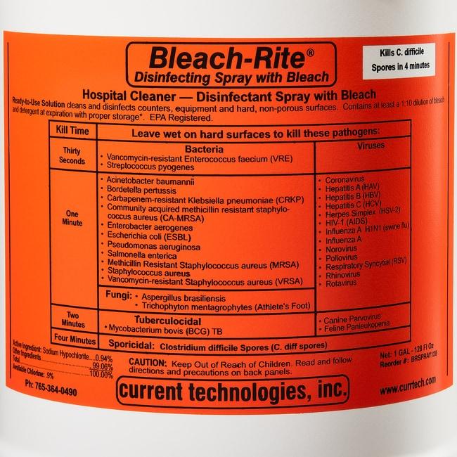 Current Technologies Bleach-Rite Disinfecting Spray with Bleach 128 oz.