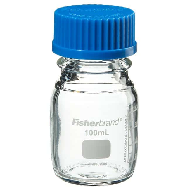 Fisherbrand™ Reusable Glass Media Bottles with Cap Capacity: 100mL Fisherbrand™ Reusable Glass Media Bottles with Cap