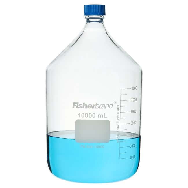 Fisherbrand™Reusable Glass Media Bottles with Cap Capacity: 10,000mL Fisherbrand™Reusable Glass Media Bottles with Cap
