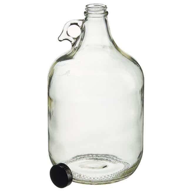 Fisherbrand  Clear Round Narrow Mouth Glass Jugs with Black Phenolic Caps