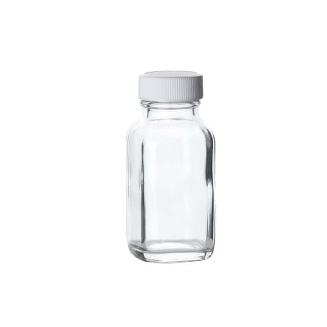 Fisherbrand  Clear French Square Glass Bottles with White Polypropylene Caps