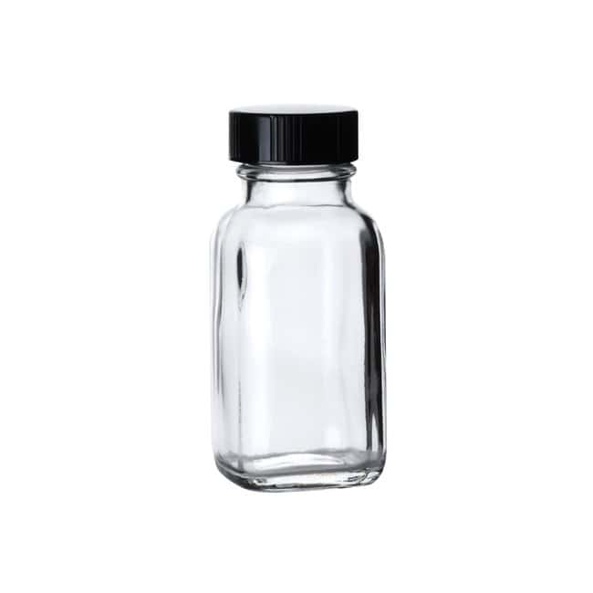 Fisherbrand  Clear French Square Glass Bottles with Black Phenolic Caps