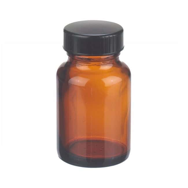 Fisherbrand  Amber Wide Mouth Packer Glass Bottles with Black Phenolic Caps