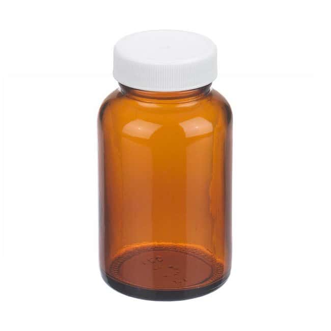 Fisherbrand™Amber Wide Mouth Packer Glass Bottles with White Polypropylene Caps Capacity: 120 ml Fisherbrand™Amber Wide Mouth Packer Glass Bottles with White Polypropylene Caps