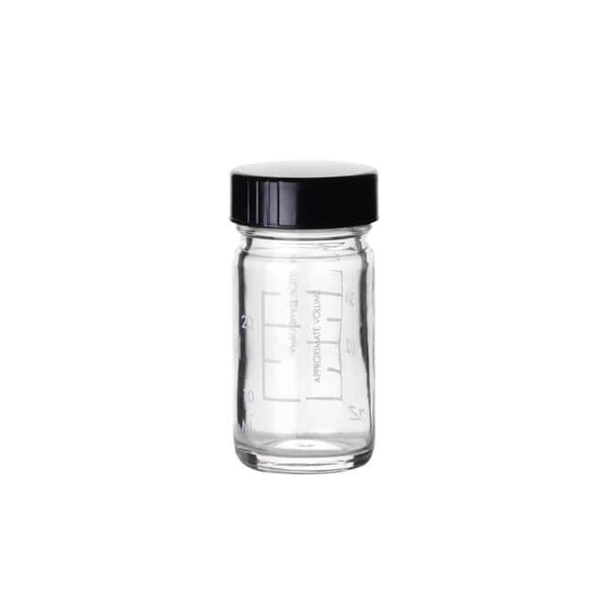 Fisherbrand  Clear Graduated Glass Bottles with Black Phenolic Caps