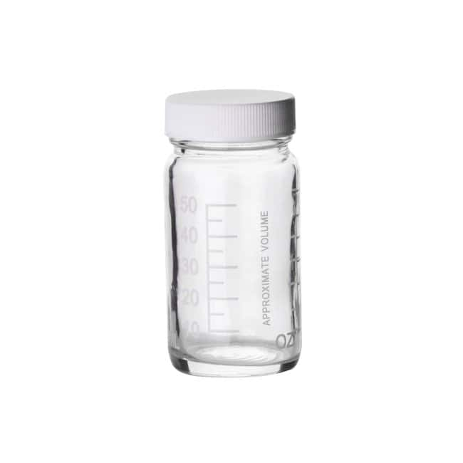 Fisherbrand  Clear Graduated Glass Bottles with White Polypropylene Caps