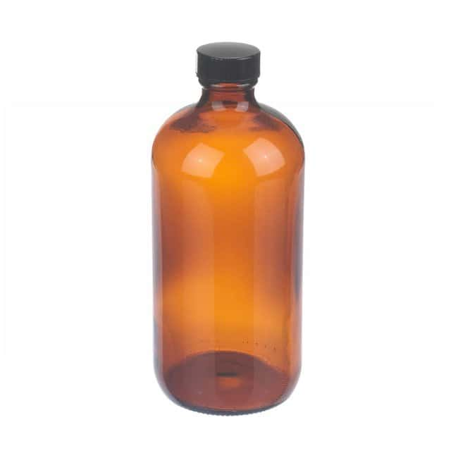 Fisherbrand  Amber Boston Round Glass Bottles with Black Phenolic Caps