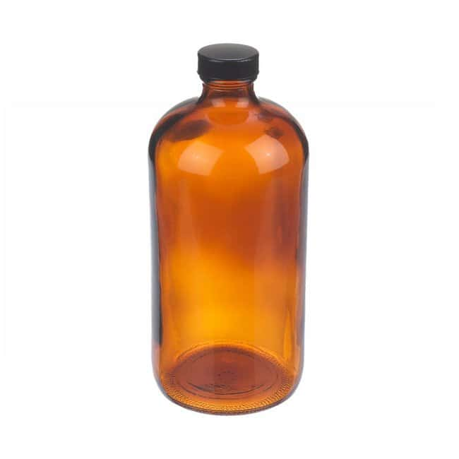 Fisherbrand  Amber Boston Round Glass Bottles with Black Phenolic Caps