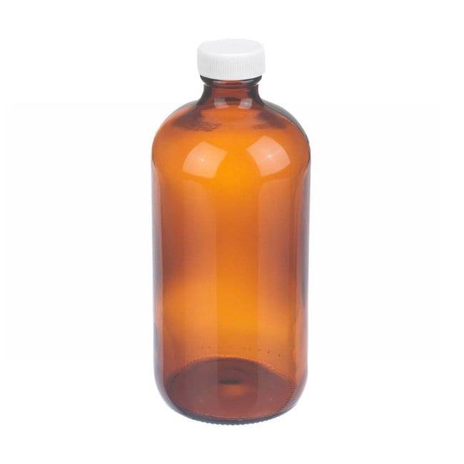 Fisherbrand  Amber Boston Round Glass Bottles with White Polypropylene Caps
