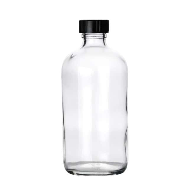 Fisherbrand  Clear Boston Round Glass Bottles with Black Phenolic Caps