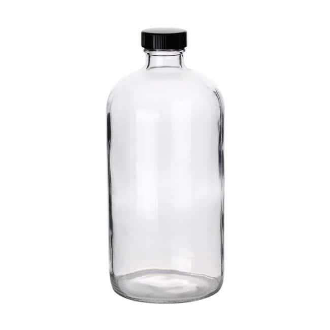 Fisherbrand™ Clear Boston Round Glass Bottles with Black Phenolic Caps