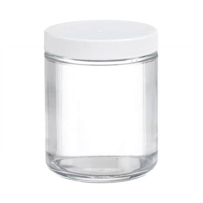 Fisherbrand  Clear Straight Sided Glass Jars with White Polypropylene Caps