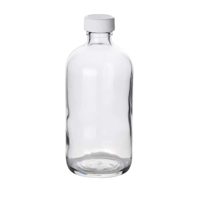 Fisherbrand  Clear Boston Round Glass Bottles with White Polypropylene Caps