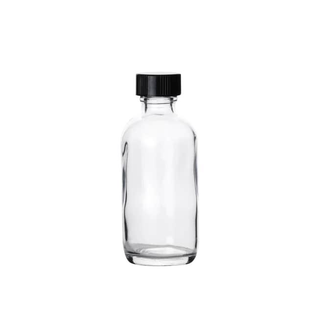 Fisherbrand™Durchsichtige Boston-Rundhalsflaschen mit schwarzen Phenolkappen Fassungsvermögen: 2 Oz.; Verschlusseinlage PE-Konus Fisherbrand™Durchsichtige Boston-Rundhalsflaschen mit schwarzen Phenolkappen