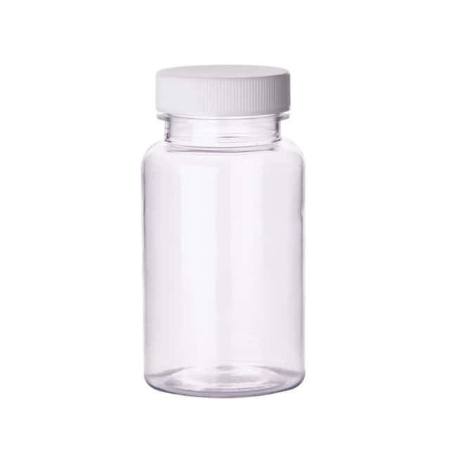 Fisherbrand  Clear PET Wide Mouth Packer Bottles with White Polypropylene Caps