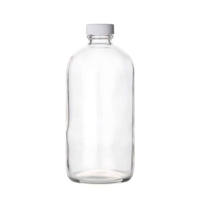 Fisherbrand  Safety Coated Clear Boston Round Glass Bottles with White Polypropylene Caps