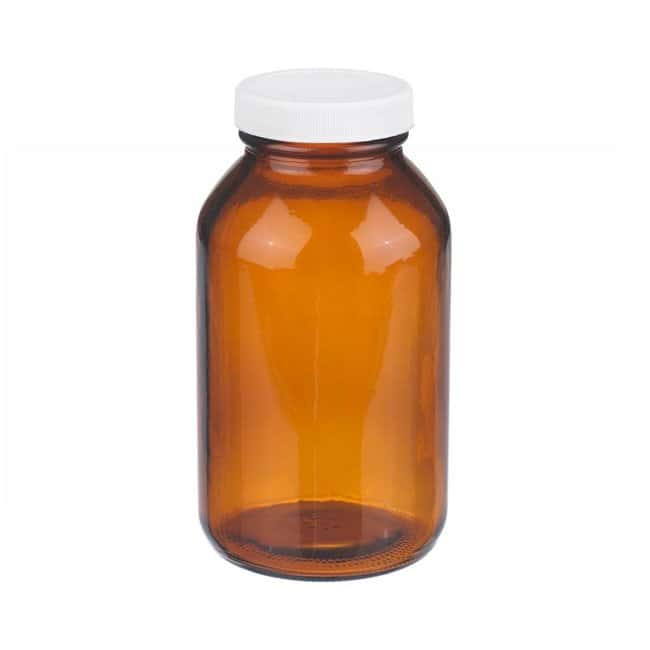 Fisherbrand  Safety Coated Amber Wide Mouth Packer Glass Bottles with White Polypropylene Caps