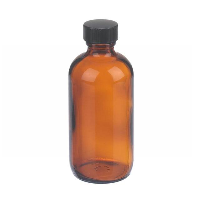 Fisherbrand  Safety Coated Amber Boston Round Glass Bottles with Black Phenolic Caps