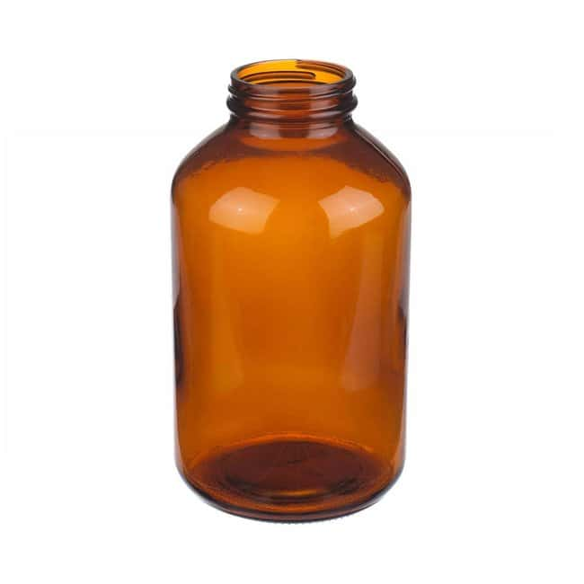 Fisherbrand  Amber Wide Mouth Packer Glass Bottles without Caps