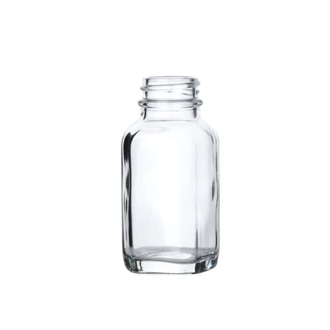 Fisherbrand  Clear French Square Glass Bottles without Caps