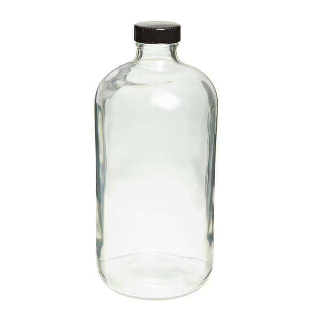 Fisherbrand™Safety Coated Clear Boston Round Glass Bottles with Black Phenolic Caps Capacity: 16 oz ; Closure liner: PE Cone Fisherbrand™Safety Coated Clear Boston Round Glass Bottles with Black Phenolic Caps