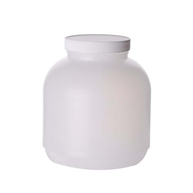 Fisherbrand  Wide Mouth Round Bottles with White Polypropylene Caps