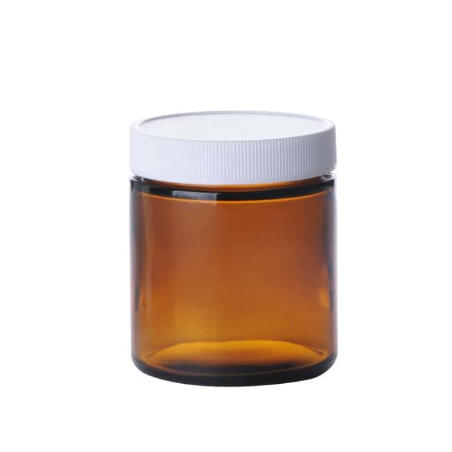 Fisherbrand™ Amber Wide Mouth Straight Sided Glass Jars with White Polypropylene Caps