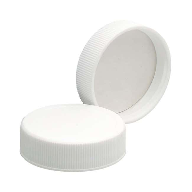 Fisherbrand™ White Polypropylene Caps Closure liner: PE Foam/PTFE; Neck Finish: 38-400  ; Qty: 500 Fisherbrand™ White Polypropylene Caps