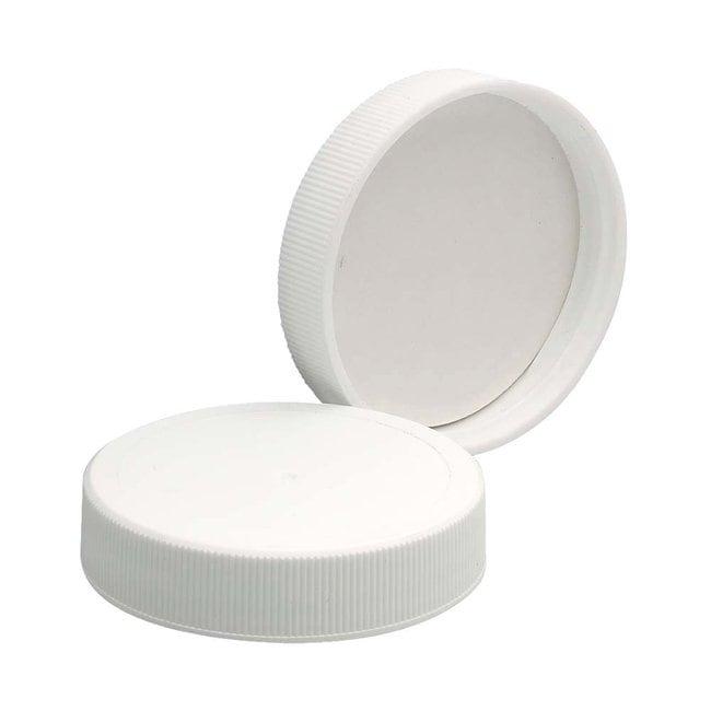 Fisherbrand™Bouchons en polypropylène blanc Revêtement du bouchon: Mousse de PE/PTFE; Finition de col: 48-400; Quantité: 100 Fisherbrand™Bouchons en polypropylène blanc