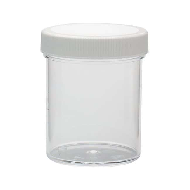 Fisherbrand  Clear Straight Sided Polystyrene Jars with White Polypropylene Caps