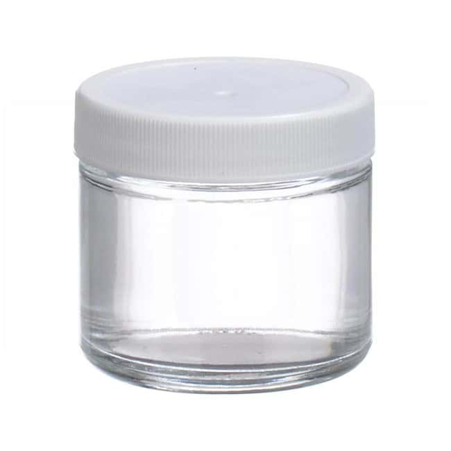 Fisherbrand™ Clear Straight Sided Glass Jars with White Polypropylene Caps