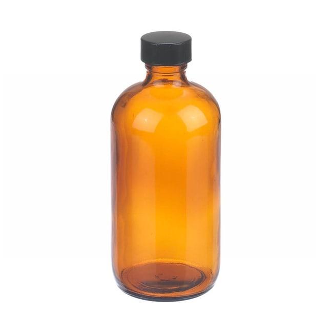 Fisherbrand™Braune Boston-Rundehalsflaschen aus Glas mit schwarzen Phenolkappen Fassungsvermögen: 8oz; Verschlusseinlage: Gummi; Menge: 12 Fisherbrand™Braune Boston-Rundehalsflaschen aus Glas mit schwarzen Phenolkappen