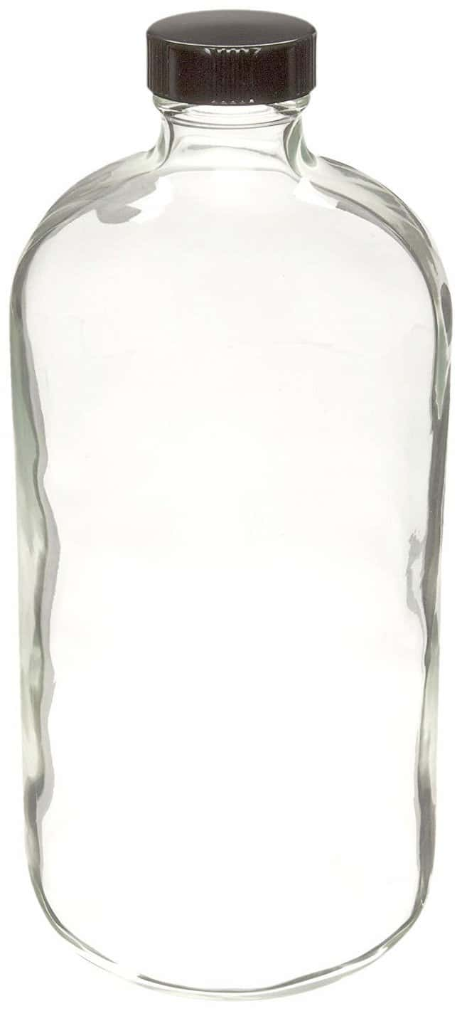DWK Life Sciences Wheaton  Safety-Coated Clear Narrow-Mouth Bottles with Polyethylene LDPE-Lined Black Phenolic Caps
