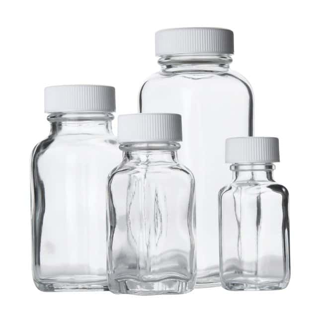 1bb6d94fd60e Fisherbrand™ Clear French Square Glass Bottles with White ...