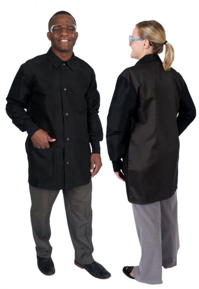 DenLine Protection Plus+ II Unisex Long-Length Lab Coats, Color: Black