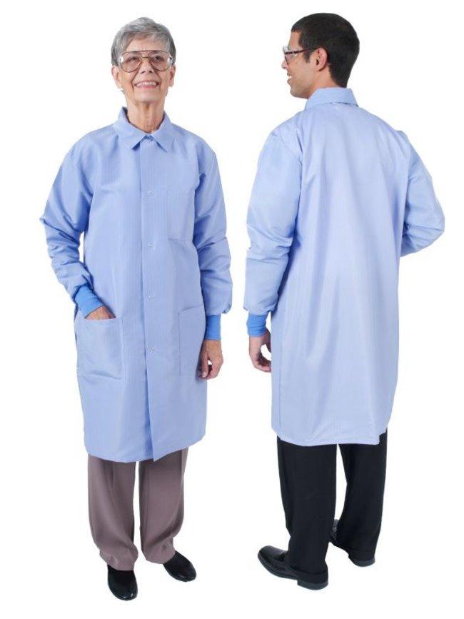 DenLine Protection Plus+ II Unisex Long-Length Lab Coats, Color: Ceil Blue:Gloves,