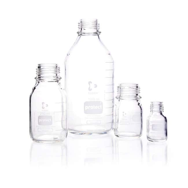 DWK Life Sciences DURAN™ Protect Laboratory Bottle, Protect coated, Clear, With DIN Thread, Plastic Safetry Coated, Graduated, Bottle Only 50 mL DWK Life Sciences DURAN™ Protect Laboratory Bottle, Protect coated, Clear, With DIN Thread, Plastic Safetry Coated, Graduated, Bottle Only